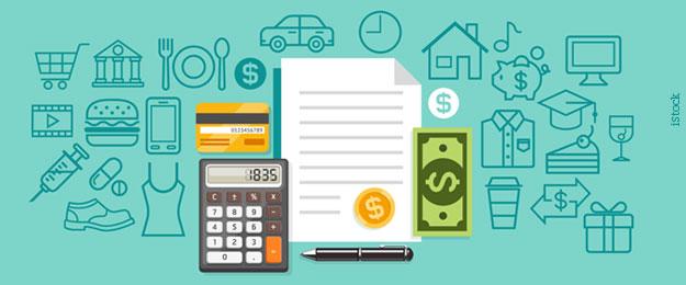 Educação financeira - Ícones diversos representando renda e despesa