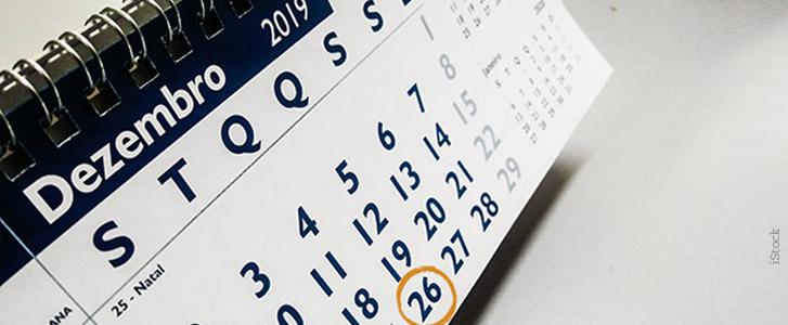 Educação financeira - Imagem de calendário de dezembro de 2019 com o dia 26 circulado